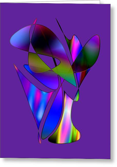 Vase And Flowers In Abstract Designs Greeting Card by Mario Perez