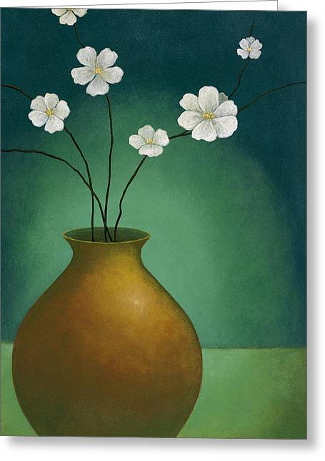 Pablo Greeting Cards - Vase and Flowers Greeting Card by Pablo Esteban