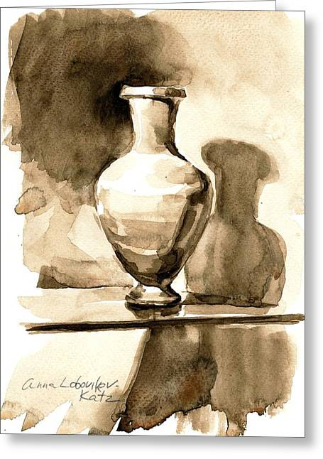Vase Greeting Card by Anna Lobovikov-Katz
