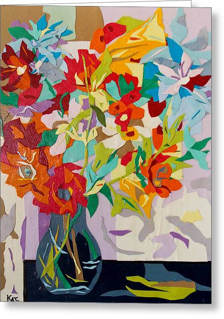 Kat Mixed Media Greeting Cards - Vase of Color Collage Greeting Card by Kat Ebert
