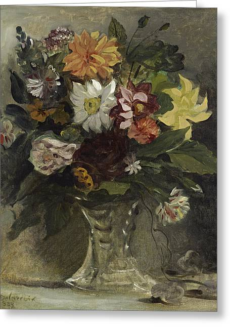 Romanticist Greeting Cards - Vase Of Flowers, 1833 Greeting Card by Ferdinand Victor Eugene Delacroix