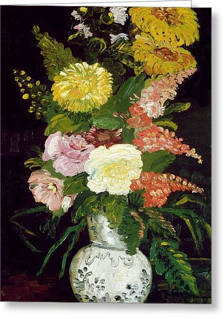 White Paintings Greeting Cards - Vase Of Flowers, 1886 Greeting Card by Vincent van Gogh