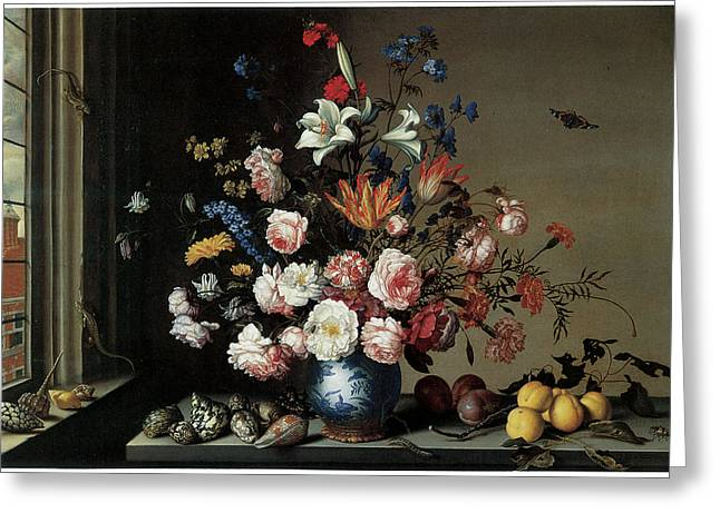 Vase of Flowers by a Window Greeting Card by Balthasar Van Der Ast