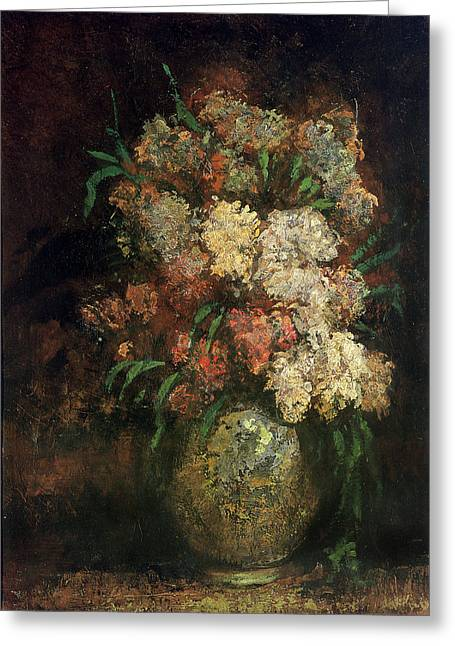 Floral Still Life Greeting Cards - Vase Of Flowers, C.1870-75 Greeting Card by Adolphe Joseph Thomas Monticelli