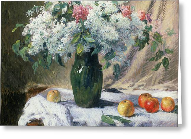 Vase Of Flowers Greeting Card by Henri Lerolle