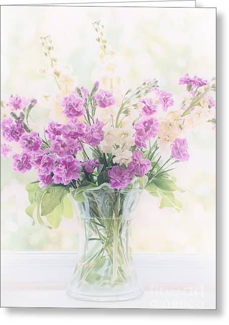 Country Cottage Digital Art Greeting Cards - Vase of Flowers Greeting Card by Natalie Kinnear