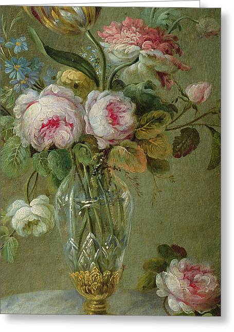 Flora Greeting Cards - Vase of flowers on a table Greeting Card by Michel Bellange