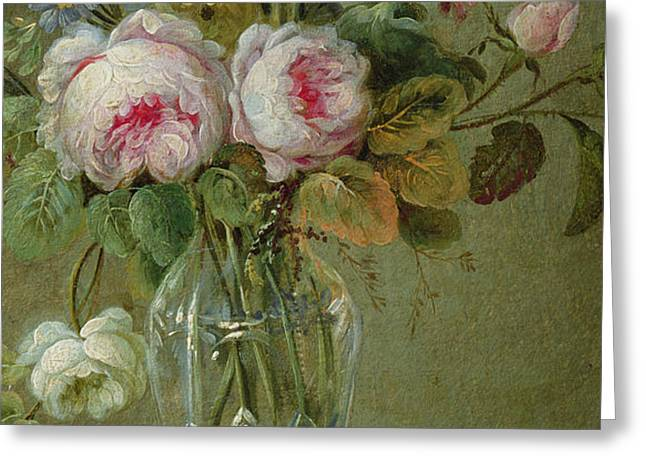 Vase of flowers on a table Greeting Card by Michel Bellange