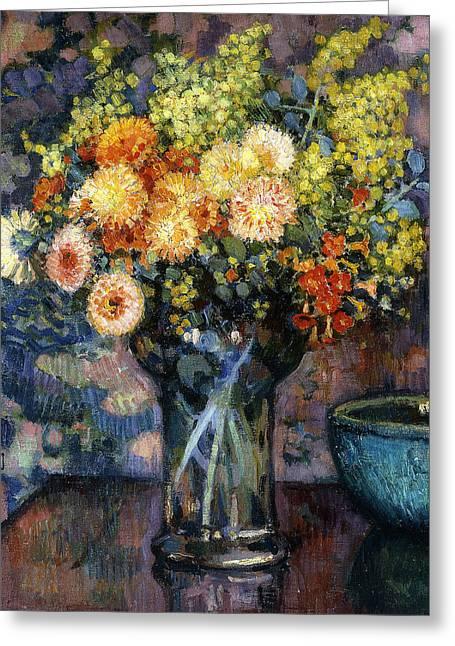 Vase Of Flowers Greeting Card by Theo van Rysselberghe