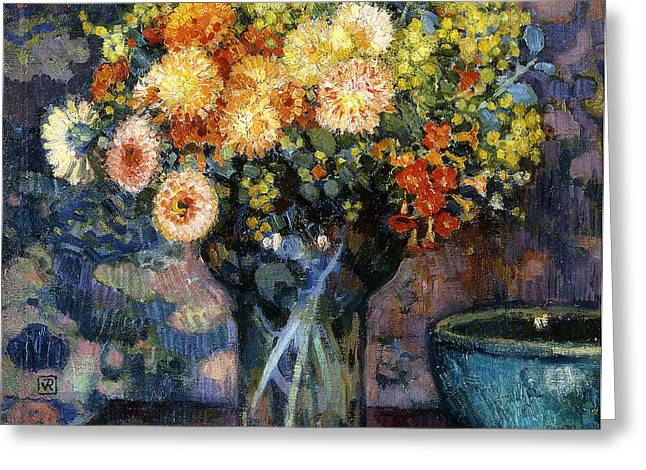 Vase of Flowers Greeting Card by Theo van Rysselberghe