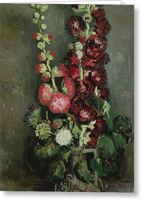 Roses Tremieres Greeting Cards - Vase Of Hollyhocks, 1886 Oil On Canvas Greeting Card by Vincent van Gogh