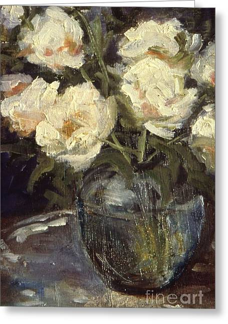 Indiana Flowers Paintings Greeting Cards - Vase of Peonies Greeting Card by Gedda Runyon Starlin