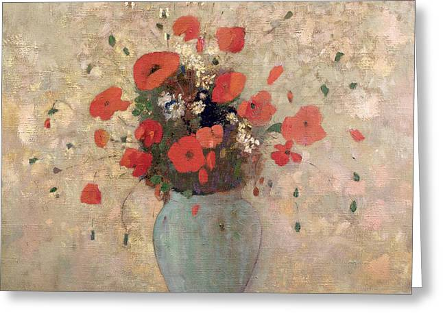 Flower Still Life Greeting Cards - Vase of poppies Greeting Card by Odilon Redon