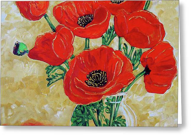 Vase Of Flowers Mixed Media Greeting Cards - Vase of Red Greeting Card by Vickie Warner