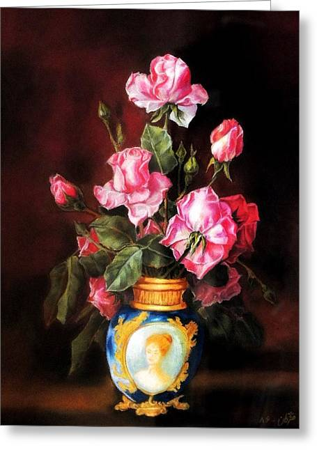 Vase Of Flowers Pastels Greeting Cards - Vase of rose Greeting Card by Mojgan Jafari