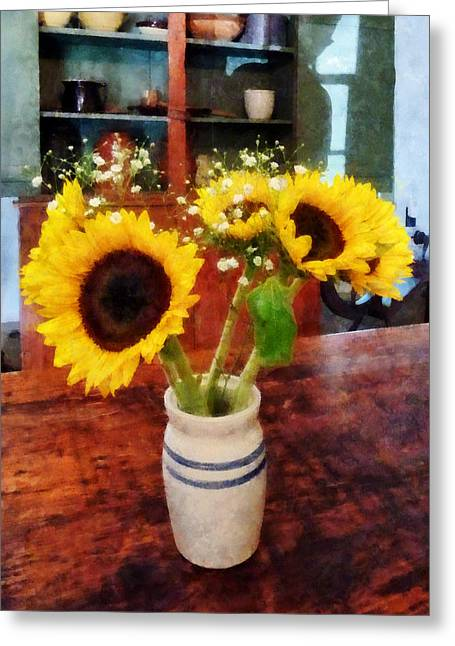 Sunflowers Greeting Cards - Vase of Sunflowers Greeting Card by Susan Savad