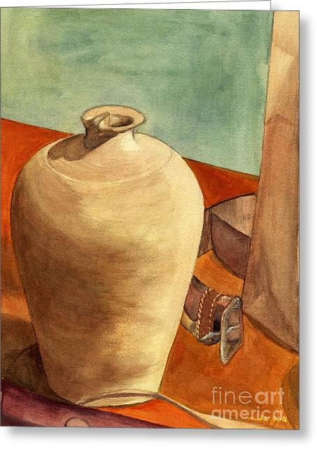 Original Pottery Greeting Cards - Vase Still Greeting Card by Mukta Gupta