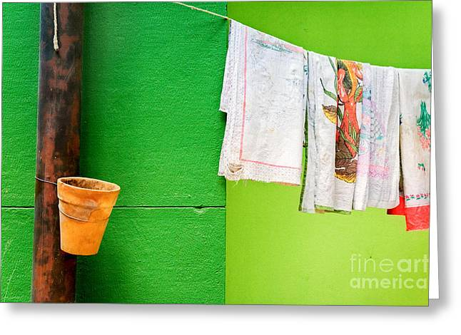 Cloth Greeting Cards - Vase towels and green wall Greeting Card by Silvia Ganora