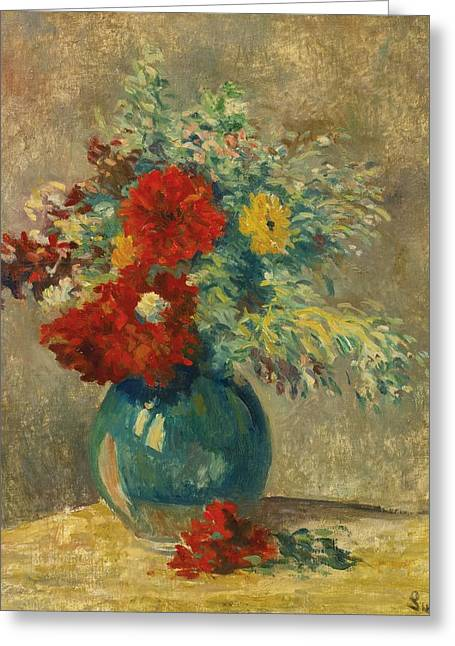 Riviere Paintings Greeting Cards - Vase Vert Aux Fleurs Multicolores Greeting Card by Maximilien Luce