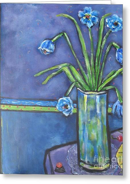 Vase With Blue Flowers And Cherries Greeting Card by Chaline Ouellet