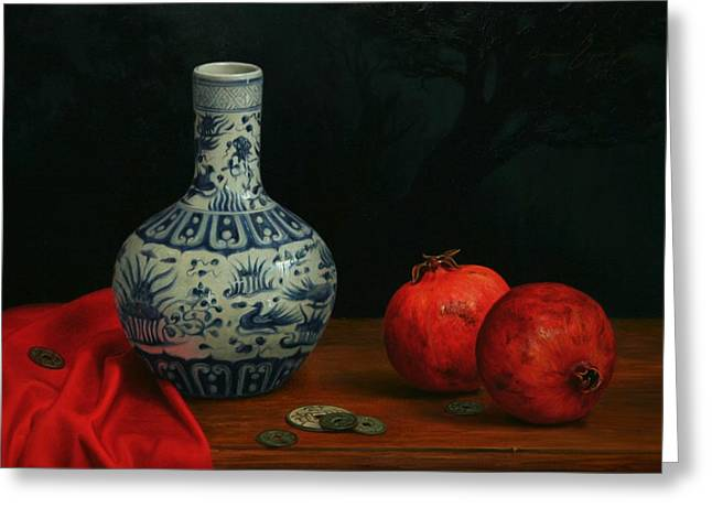 Cloth Ceramics Greeting Cards - Vase with Coins and Pomegranates Greeting Card by Bruno Capolongo