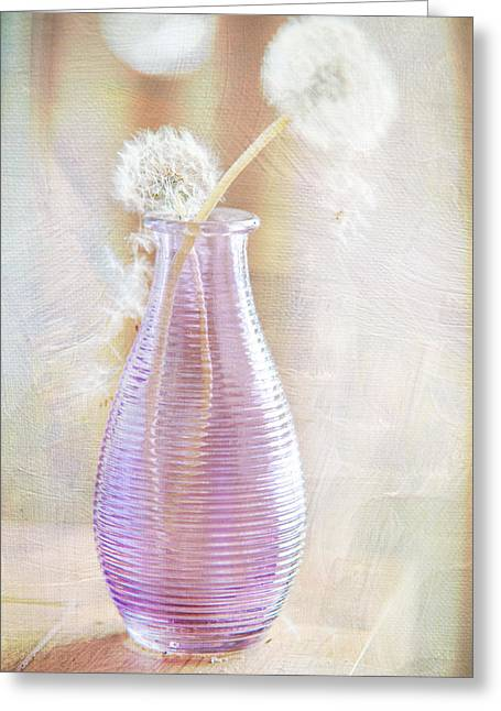Interior Still Life Photographs Greeting Cards - Vase with Dandelions Greeting Card by Jenny Rainbow