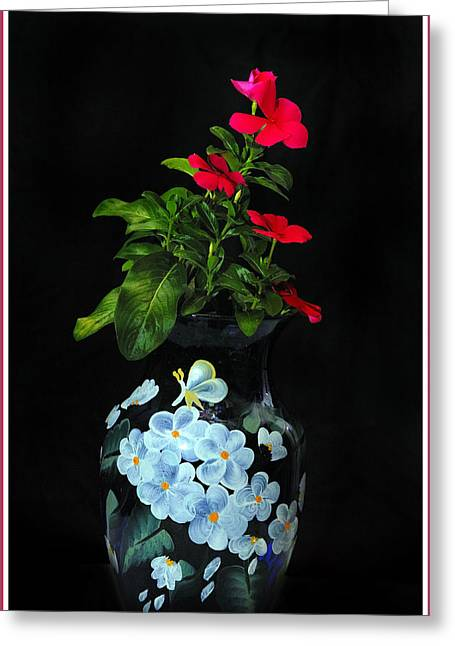 Glass Vase Greeting Cards - Vase With Flowers Greeting Card by Constance Lowery