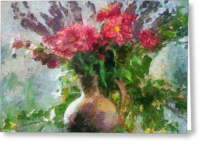 Interior Still Life Digital Greeting Cards - Vase with red and blue flowers Greeting Card by Yury Malkov