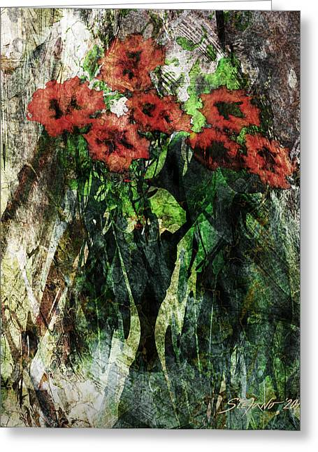 Vase With Red Flowers Greeting Card by Stefano Popovski