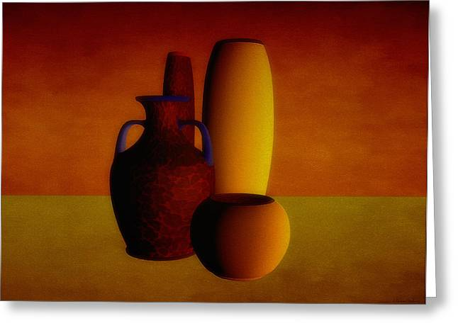 Warm Tones Greeting Cards - Vases in warm tones Greeting Card by Ramon Martinez