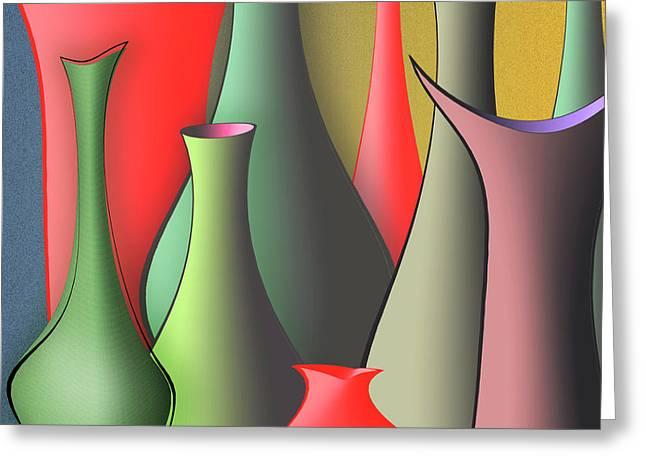 Grey And Pink Greeting Cards - Vases Still Life Greeting Card by Ben and Raisa Gertsberg