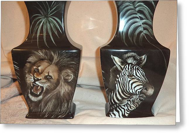 Zebra Ceramics Greeting Cards - Vases with animals back side Greeting Card by Patricia Rachidi