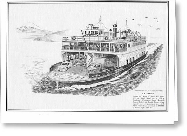 Bainbridge Island Greeting Cards - Vashon Ferry Washington State Ferry System Greeting Card by Jack Pumphrey