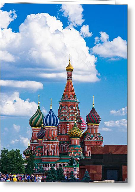 Cupola Greeting Cards - Vasily the Blessed cathedral and the Red Square of Moscow - Featured 3 Greeting Card by Alexander Senin