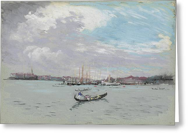 Harbor Drawings Greeting Cards - Vast Lagoon outside Venice circa 1901 Greeting Card by Aged Pixel