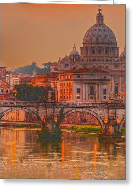 Rome Greeting Cards - Vatican at Dusk Greeting Card by Don Wolf
