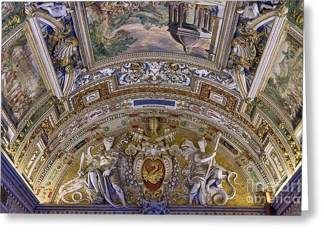 Eu Greeting Cards - Vatican Ceiling Fresco Greeting Card by John Greim