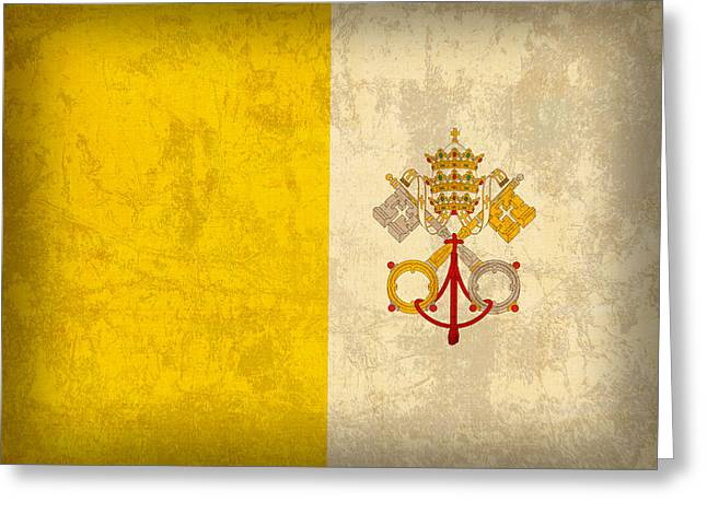Vatican City Flag Vintage Distressed Finish Greeting Card by Design Turnpike