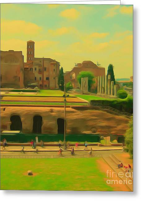 Pages Of Life Paintings Greeting Cards - Vatican City Greeting Card by Page One Tang