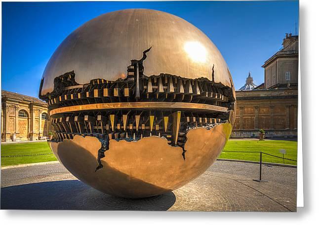Sculpture Gallery Greeting Cards - Vatican Garden Sphere Greeting Card by Erik Brede