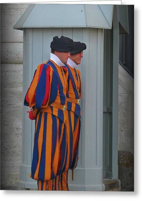 Swiss Guard Greeting Cards - Vatican Guards Greeting Card by John Malone Halifax photographer