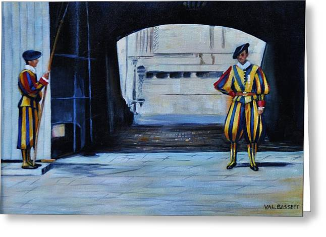 Catholic work Paintings Greeting Cards - Vatican Guards Greeting Card by Valerie Bassett