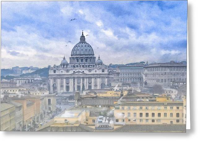 Basilica Di San Pietro Greeting Cards - Vatican On A Winter Afternoon Greeting Card by Mark Tisdale