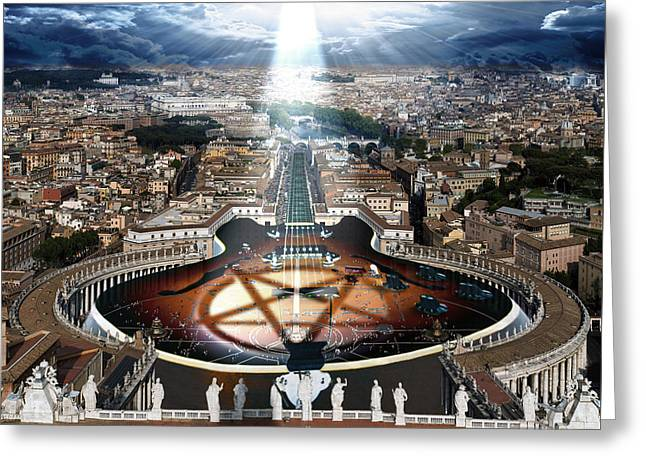 Digital Manipulation Greeting Cards - Vatican Rocking View Greeting Card by Marian Voicu