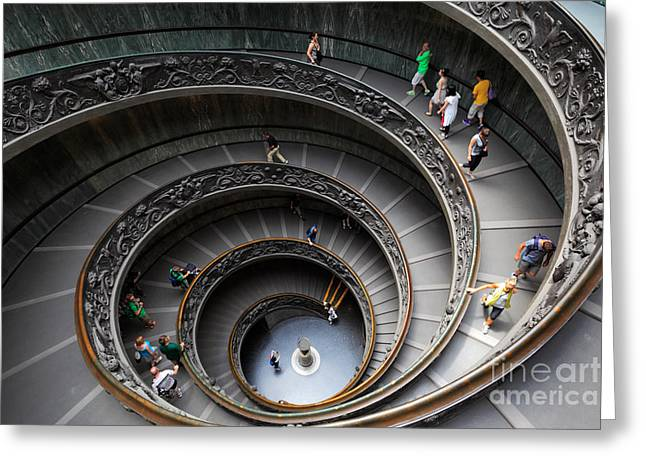 Circular Circle Circles Greeting Cards - Vatican Spiral Staircase Greeting Card by Inge Johnsson