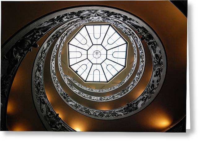 Helix Greeting Cards - Vatican Staircase Greeting Card by David Waldo