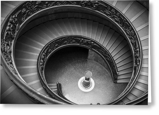 Vatican Stairs Greeting Card by Adam Romanowicz