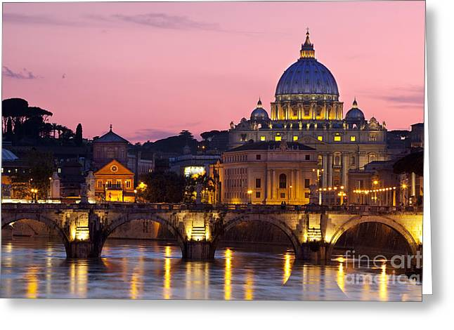 City Lights Greeting Cards - Vatican Twilight Greeting Card by Brian Jannsen