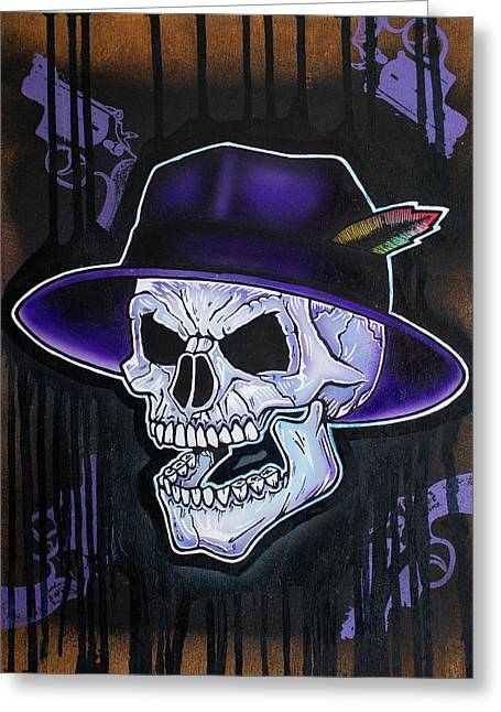 Vato Greeting Cards - Vato Skull Greeting Card by Jon Jochens
