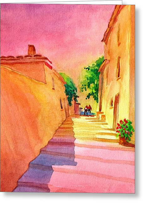 Provence Village Greeting Cards - Vaugines Steps No 1 Greeting Card by Virgil Carter